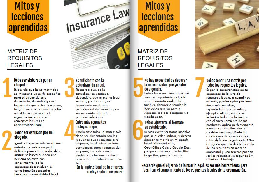 Mitos y lecciones aprendidas en la MATRIZ DE REQUISITOS LEGALES
