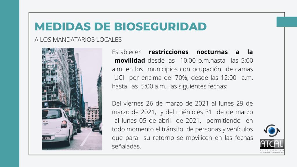 Medidas de Bioseguridad en Semana Santa 2021 para mandatarios locales.  Restricciones nocturnas de movilidad