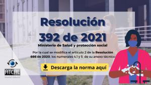 resolución 392 de 2021, modificación de la resolución 666 de 2020 en numerales específicos