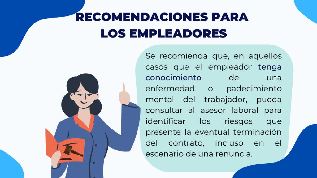 Recomendaciones para empleadores para la terminación del contrato laboral de trabajadores con padecimientos o enfermedades mentales