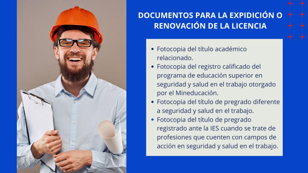 Documentos para la expedición o renovación de las licencia de seguridad y salud en el trabajo