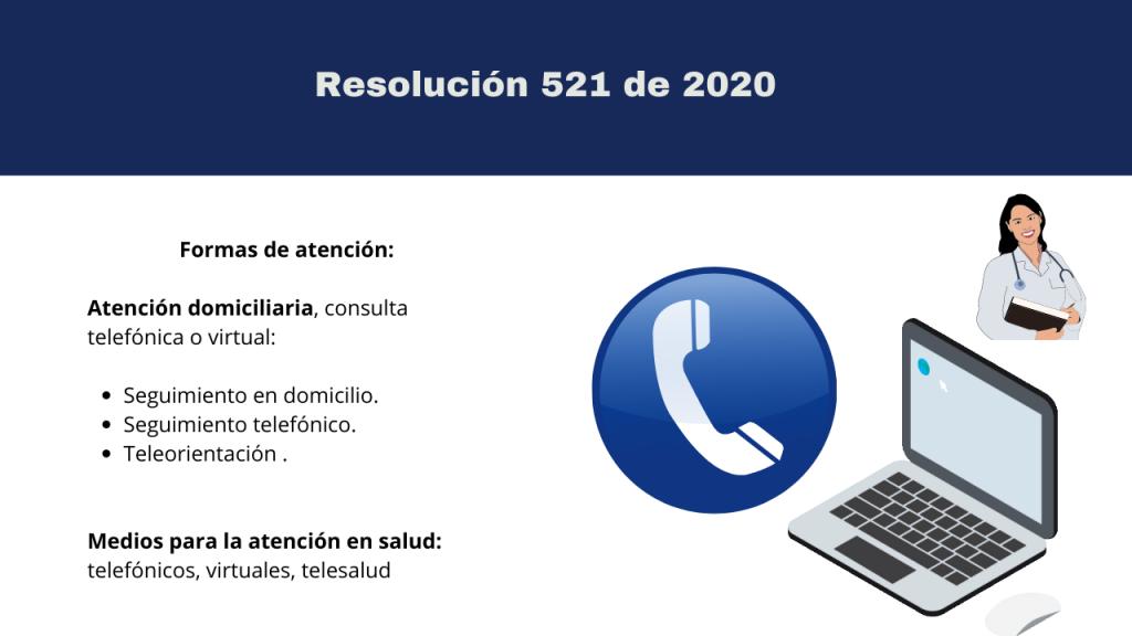 RESOLUCION 521 DE 2020 Con esta resolución adopta el procedimiento para la atención ambulatoria de población en aislamiento preventivo obligatorio con énfasis en población con 70 años o más condiciones crónicas de base o inmunosupresión por enfermedad o tratamiento durante la emergencia sanitaria por COVID 19.